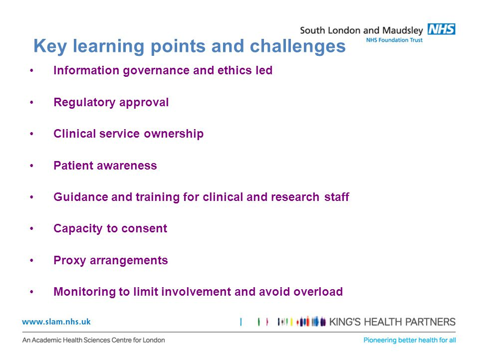 Key learning points and challenges