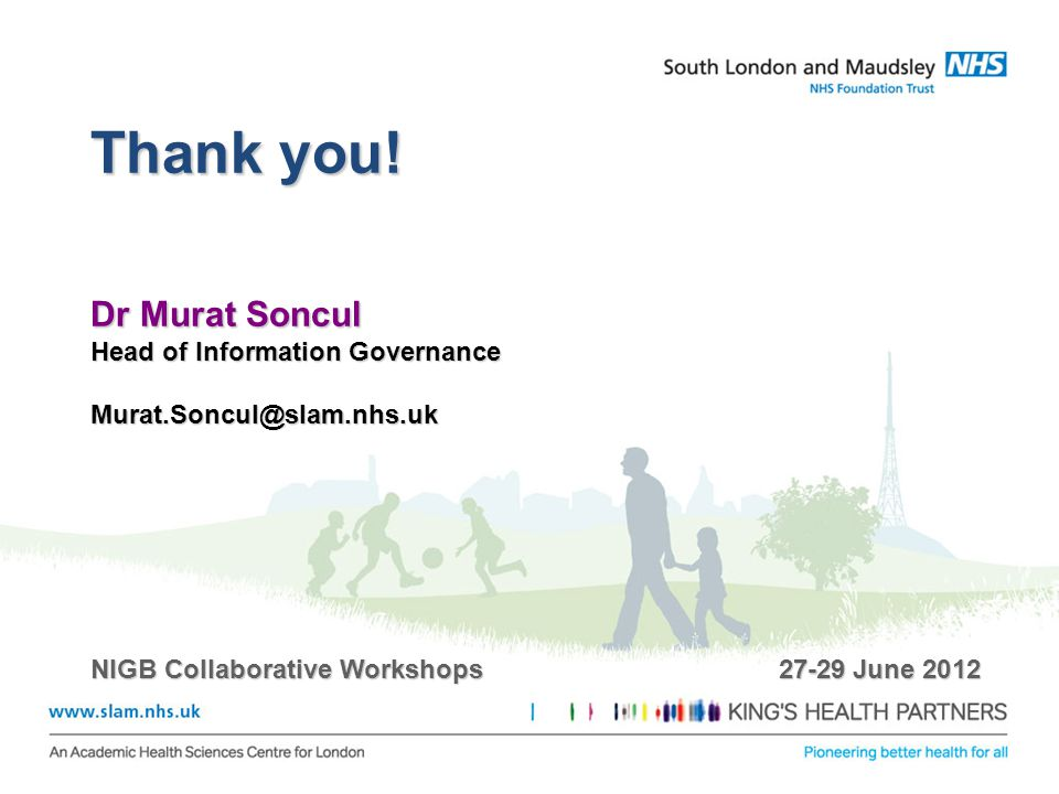Thank you! Dr Murat Soncul Head of Information Governance