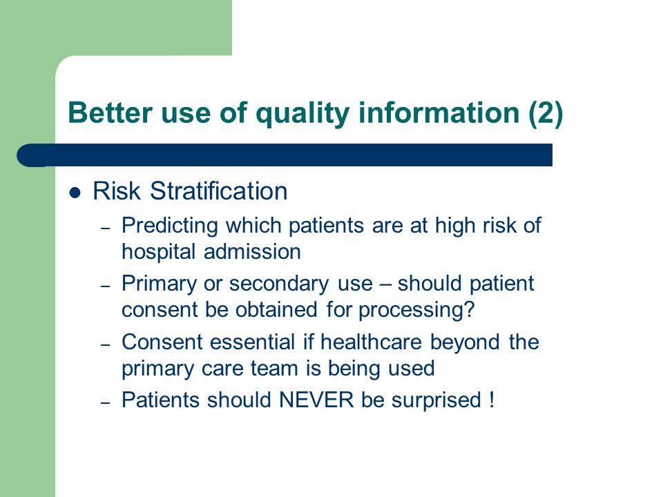 Better use of quality information (2)