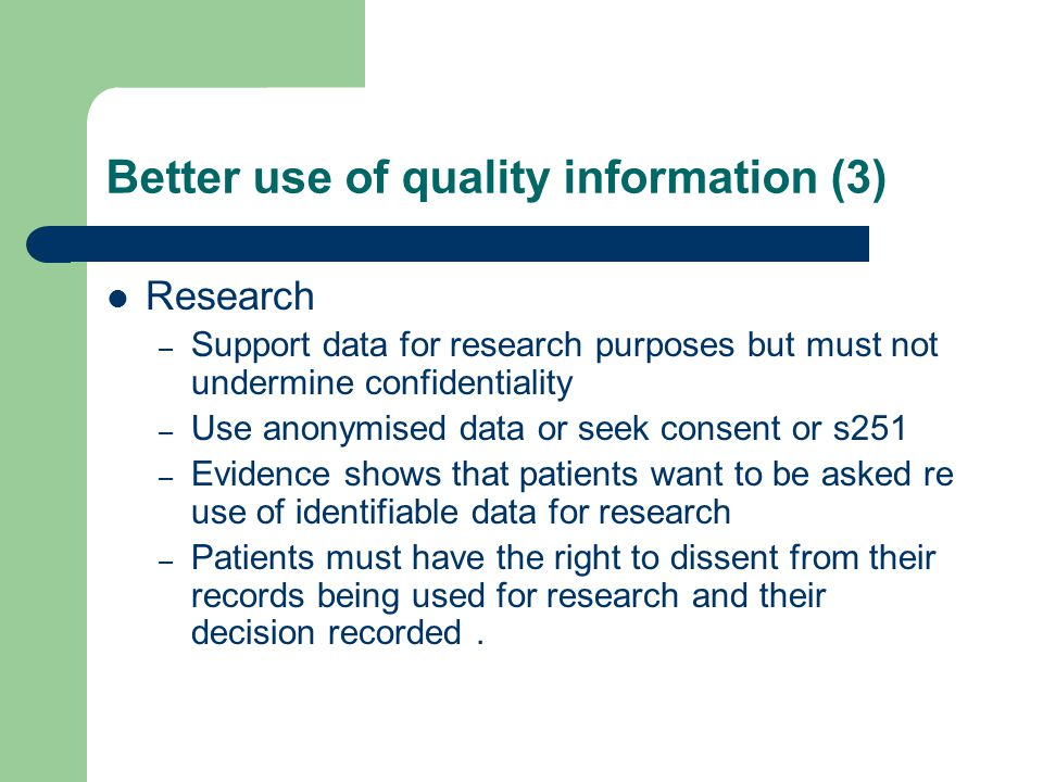 Better use of quality information (3)