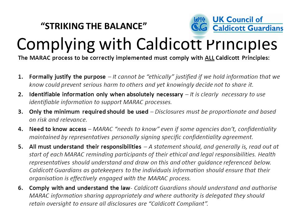 Complying with Caldicott Principles