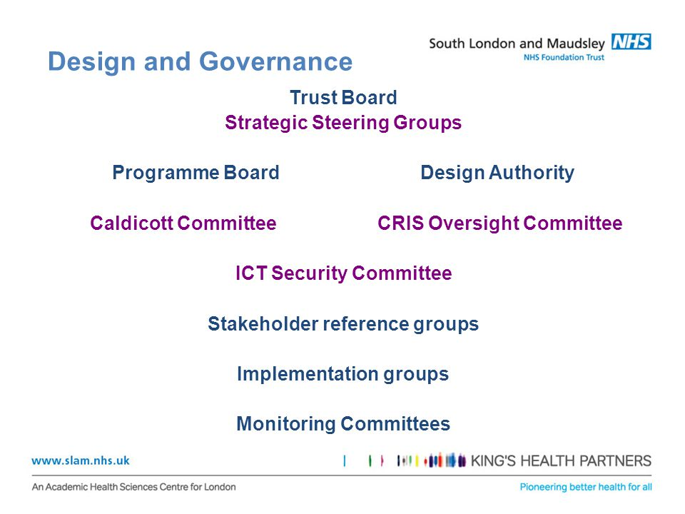 Design and Governance Trust Board Strategic Steering Groups