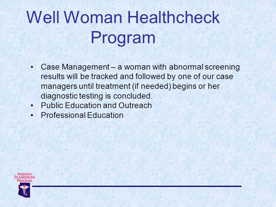Well Woman Healthcheck Program