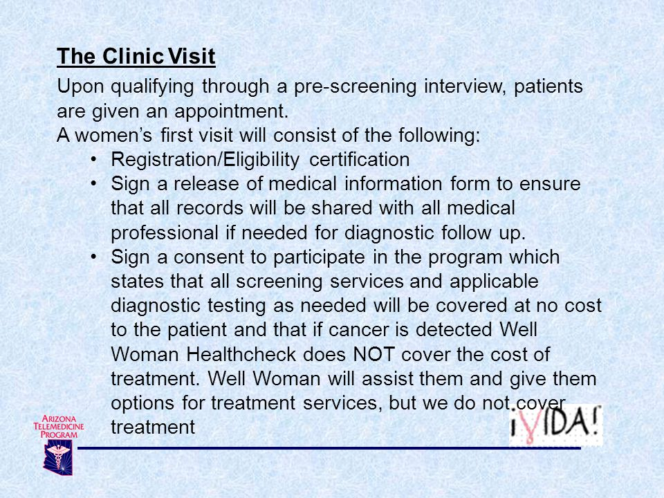 The Clinic Visit Upon qualifying through a pre-screening interview, patients are given an appointment.