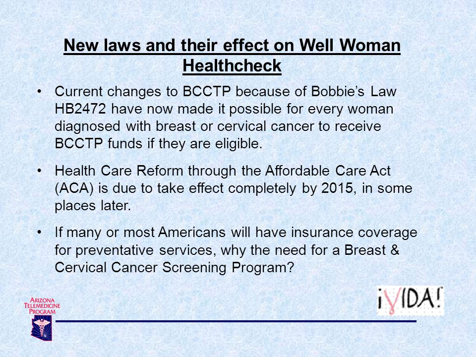 New laws and their effect on Well Woman Healthcheck