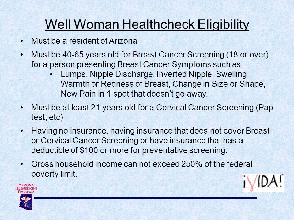 Well Woman Healthcheck Eligibility