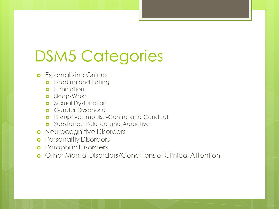 DSM5 Categories Externalizing Group Neurocognitive Disorders