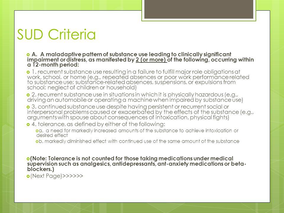 SUD Criteria