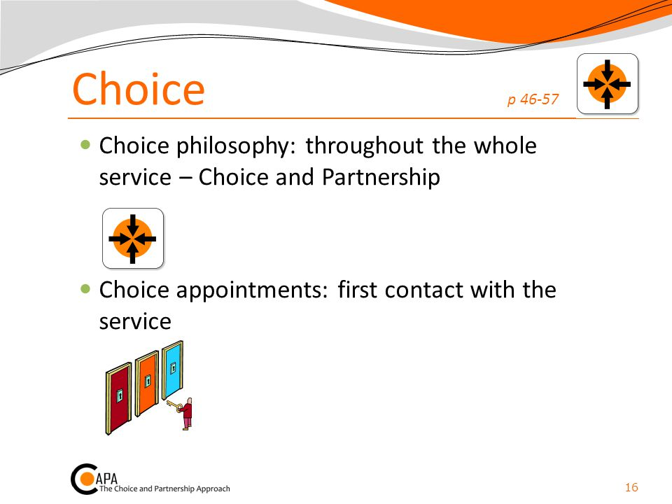 Choice p 46-57 Choice philosophy: throughout the whole service – Choice and Partnership.