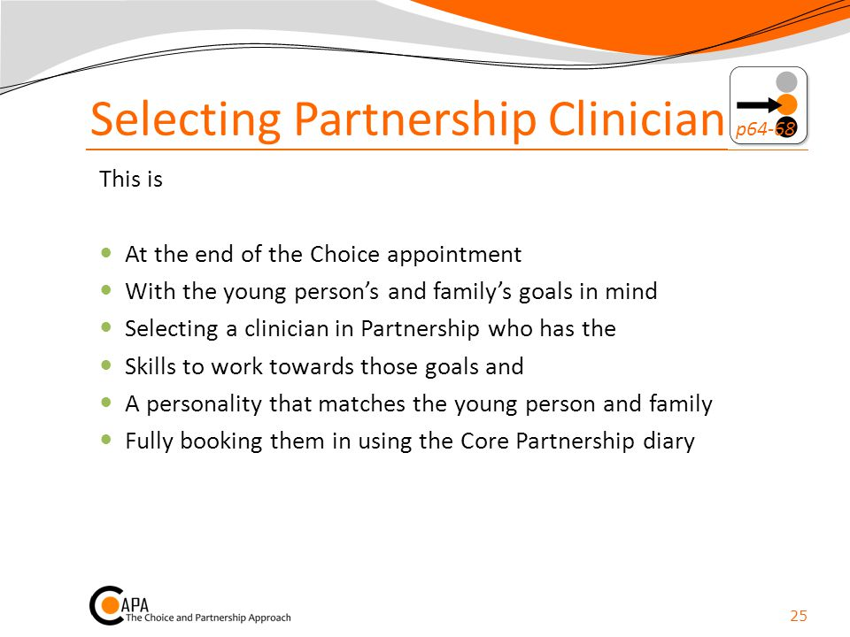 Selecting Partnership Clinician p64-68
