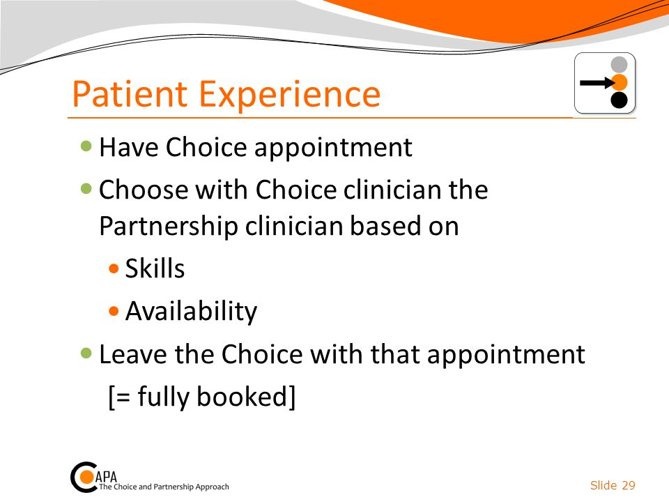 Patient Experience Have Choice appointment