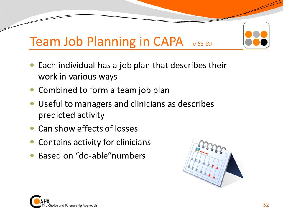 Team Job Planning in CAPA p 85-89