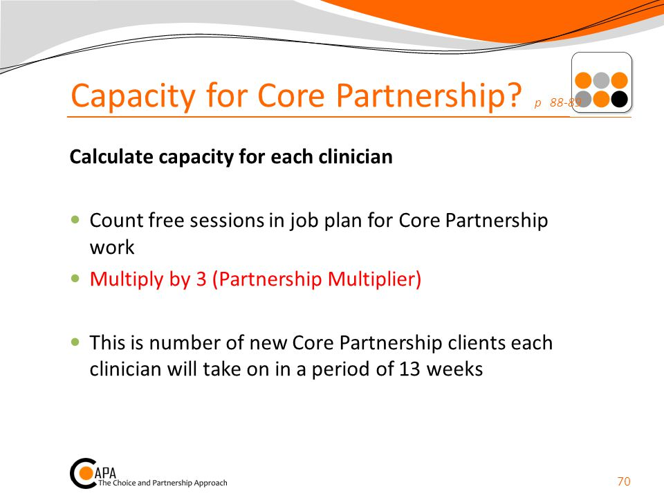 Capacity for Core Partnership p 88-89