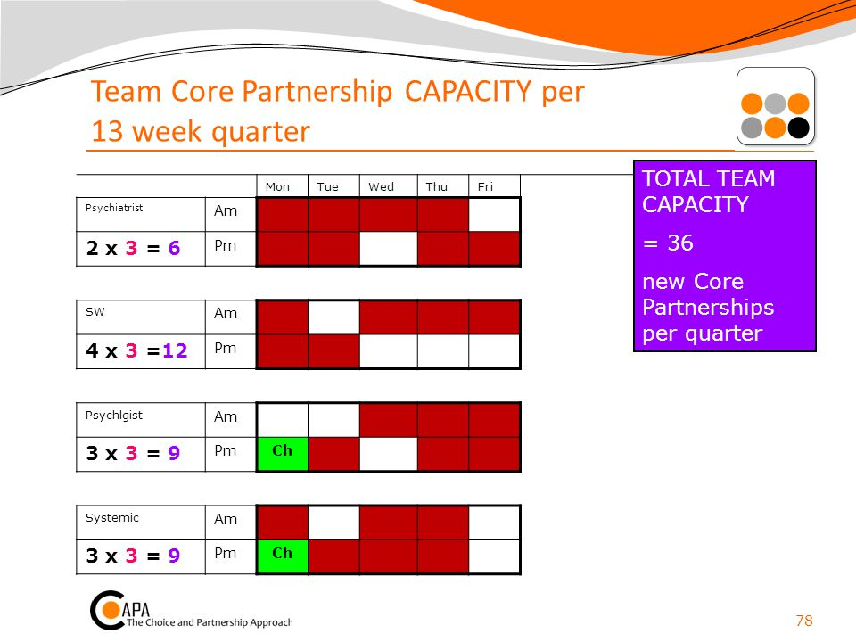 Team Core Partnership CAPACITY per 13 week quarter