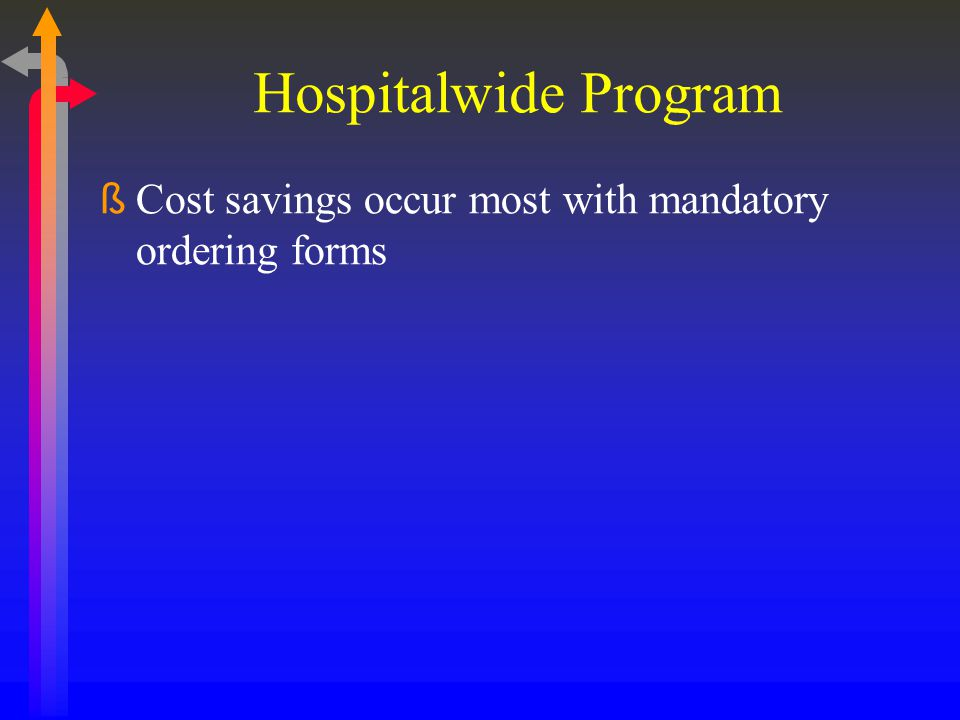 Hospitalwide Program Cost savings occur most with mandatory ordering forms