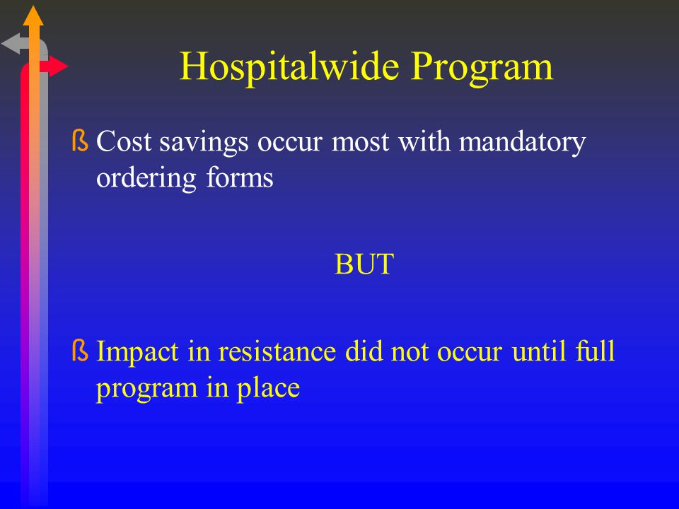 Hospitalwide Program Cost savings occur most with mandatory ordering forms.