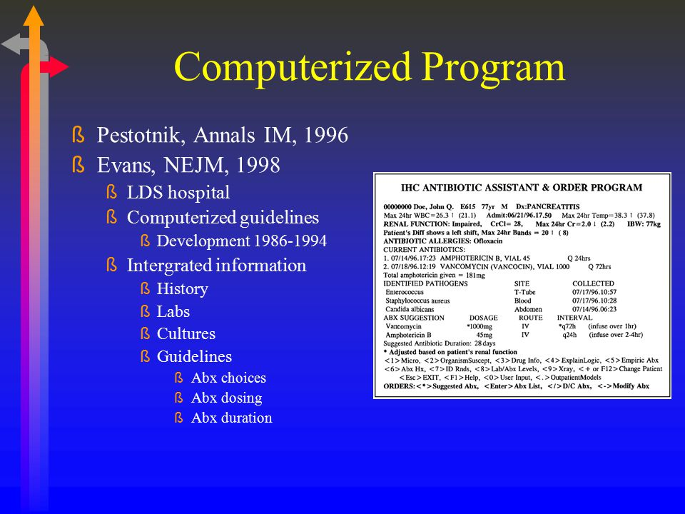 Computerized Program Pestotnik, Annals IM, 1996 Evans, NEJM, 1998