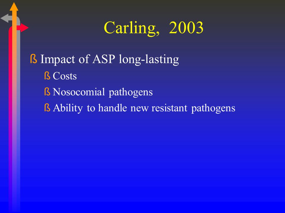 Carling, 2003 Impact of ASP long-lasting Costs Nosocomial pathogens