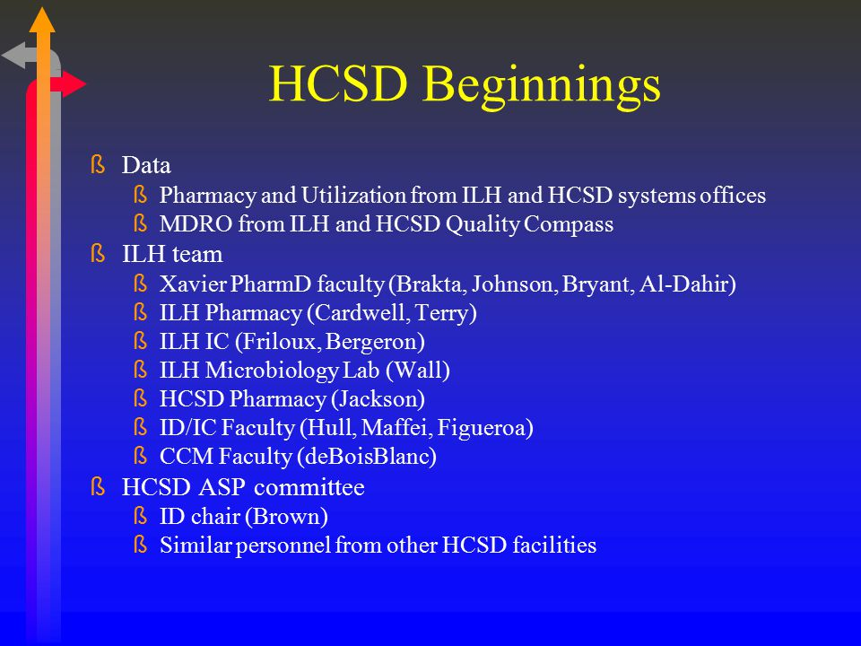 HCSD Beginnings Data ILH team HCSD ASP committee