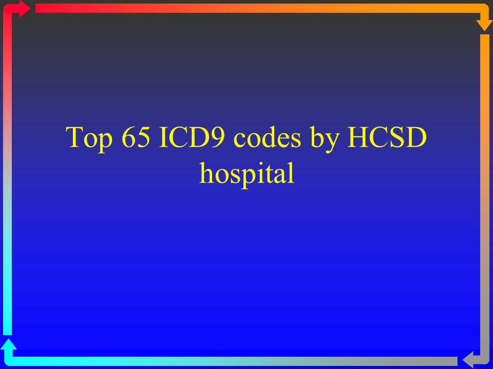 Top 65 ICD9 codes by HCSD hospital