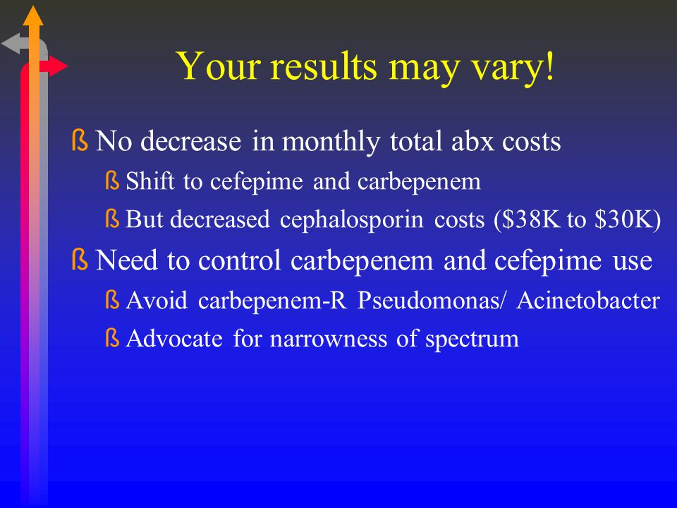 Your results may vary! No decrease in monthly total abx costs