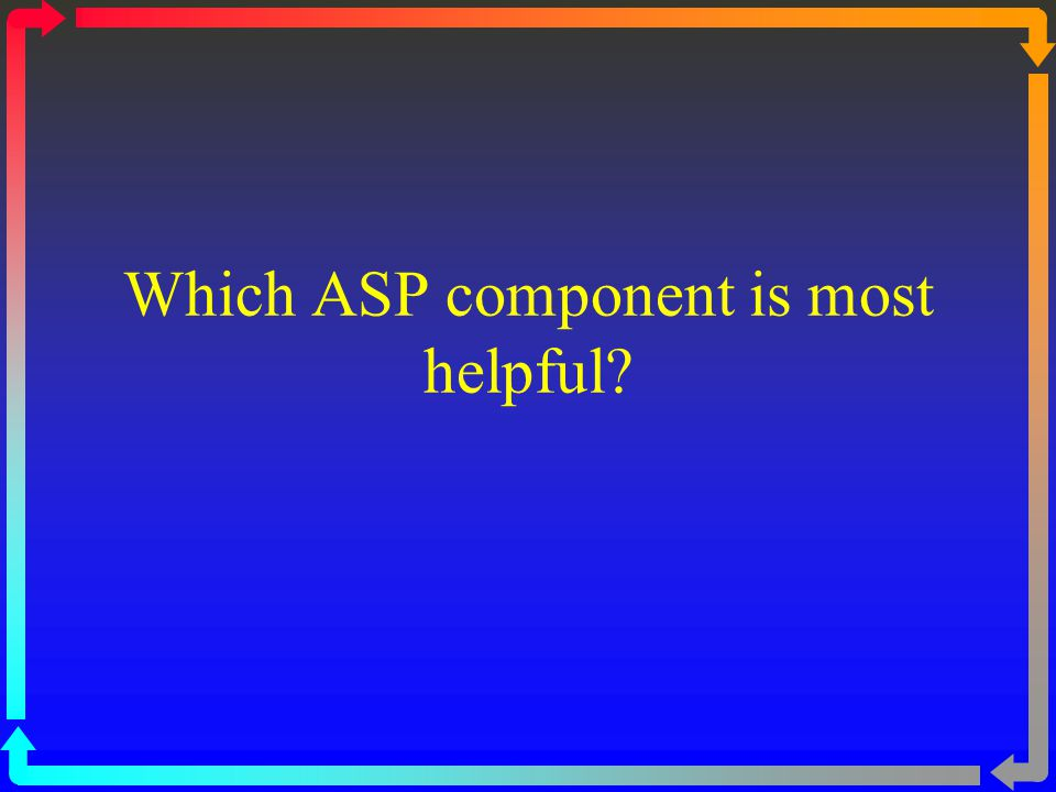 Which ASP component is most helpful