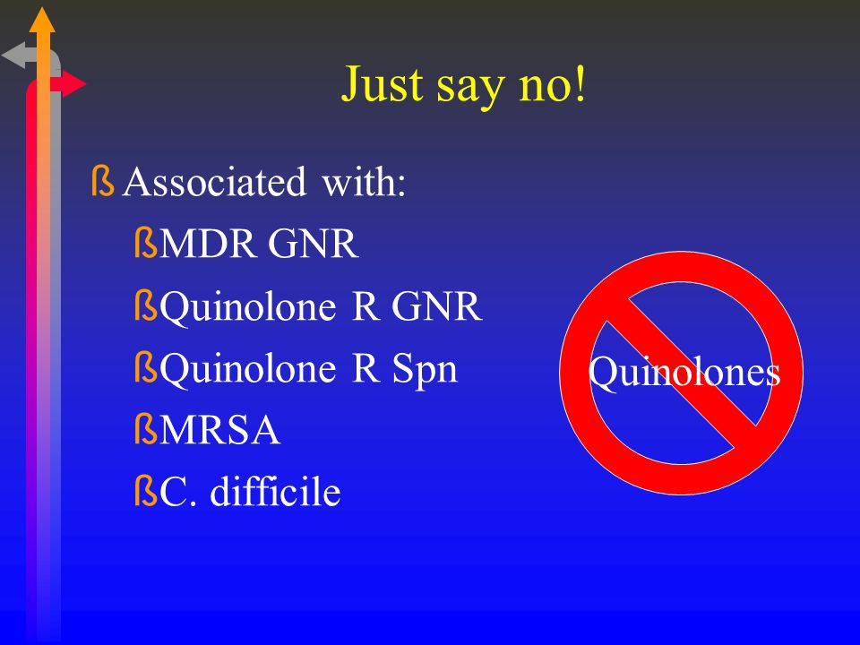 Just say no! Associated with: MDR GNR Quinolone R GNR Quinolone R Spn
