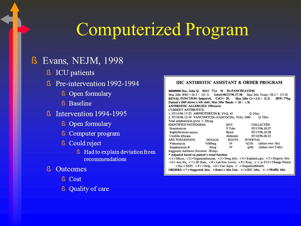 Computerized Program Evans, NEJM, 1998 ICU patients