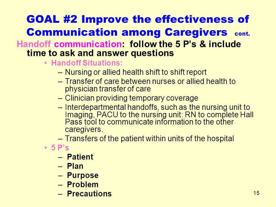 GOAL #2 Improve the effectiveness of Communication among Caregivers cont.