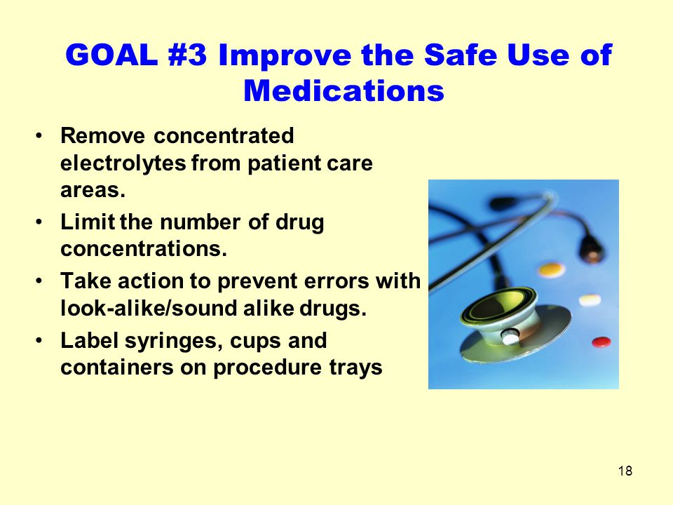 GOAL #3 Improve the Safe Use of Medications