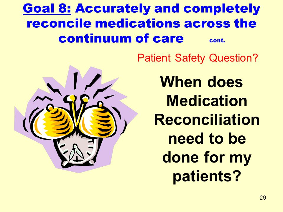 When does Medication Reconciliation need to be done for my patients