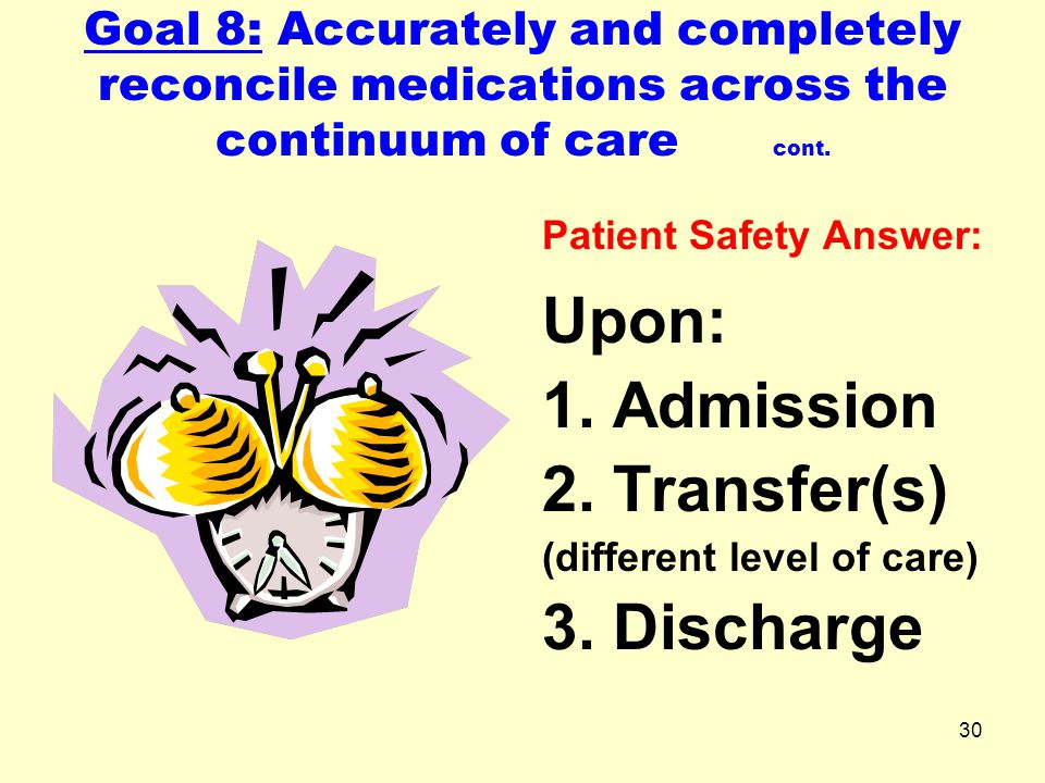 Upon: Admission Transfer(s) 3. Discharge