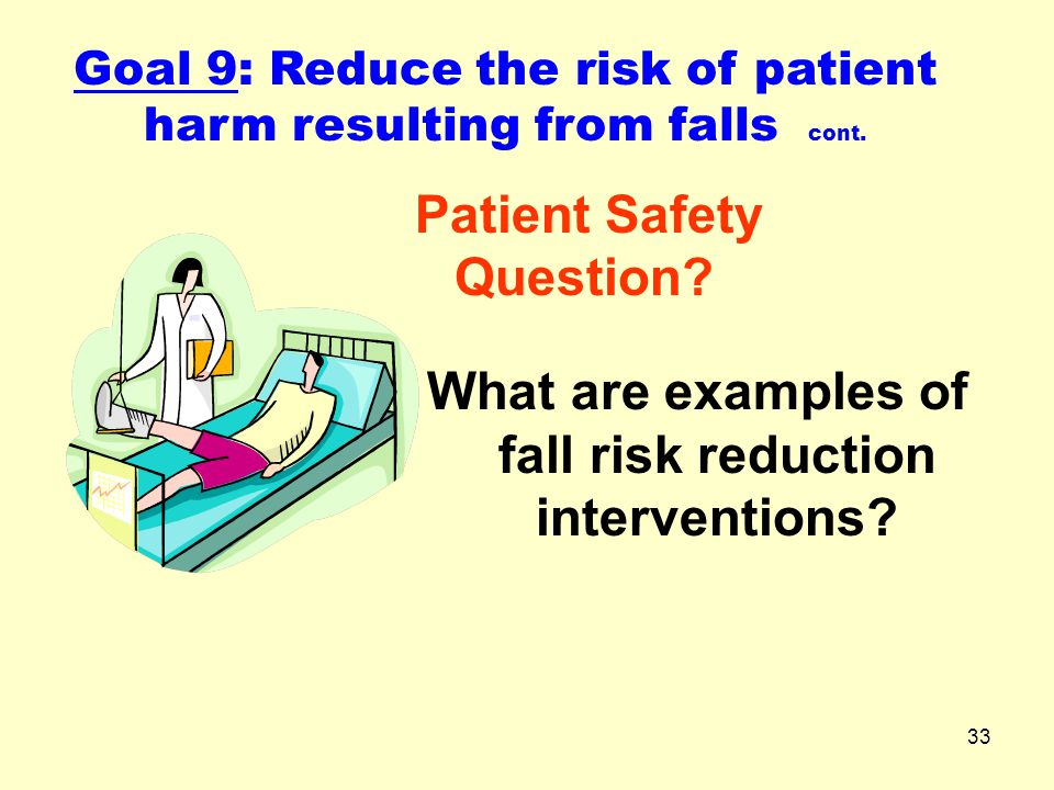 What are examples of fall risk reduction interventions