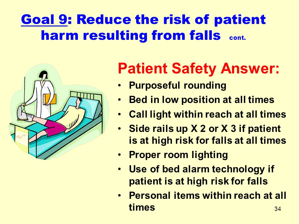Goal 9: Reduce the risk of patient harm resulting from falls cont.