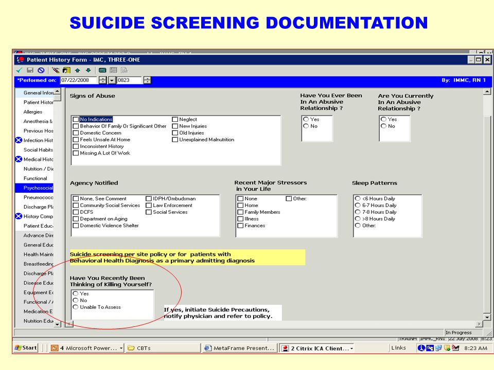 SUICIDE SCREENING DOCUMENTATION