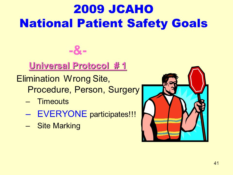 2009 JCAHO National Patient Safety Goals