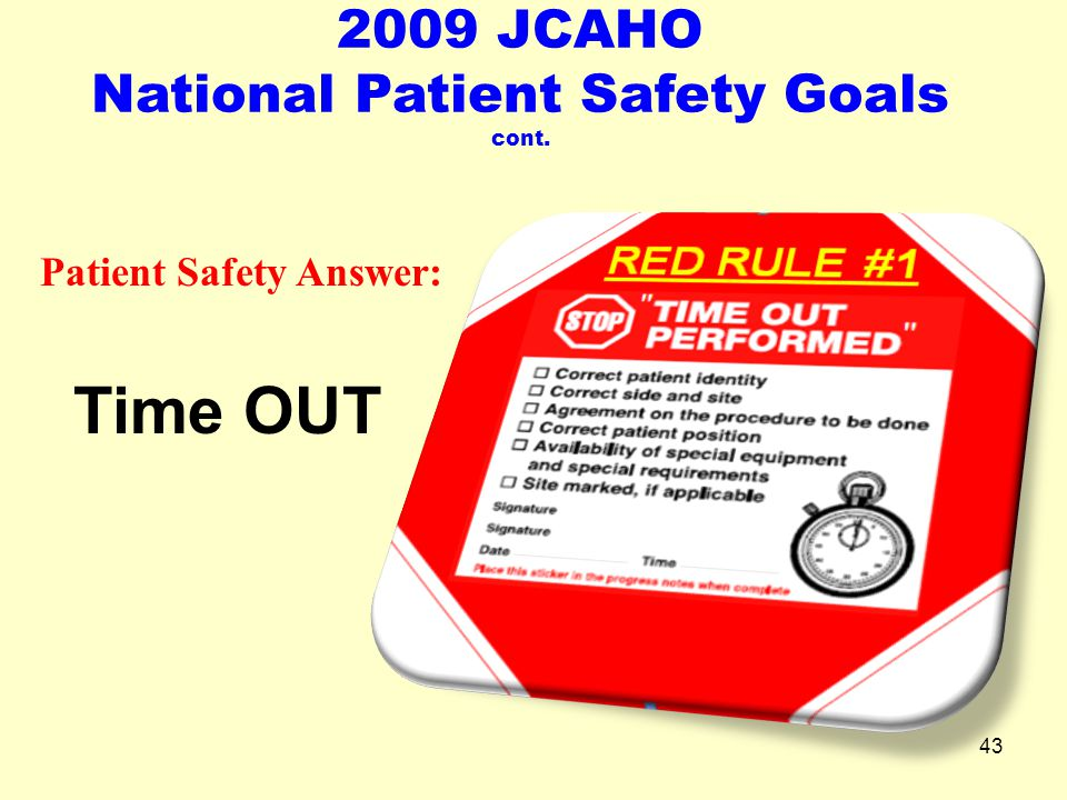 2009 JCAHO National Patient Safety Goals cont. Patient Safety Answer: