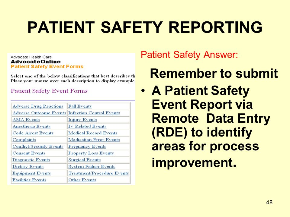 PATIENT SAFETY REPORTING