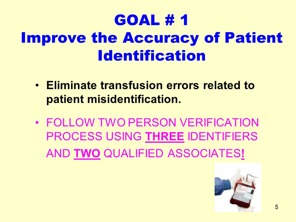 GOAL # 1 Improve the Accuracy of Patient Identification