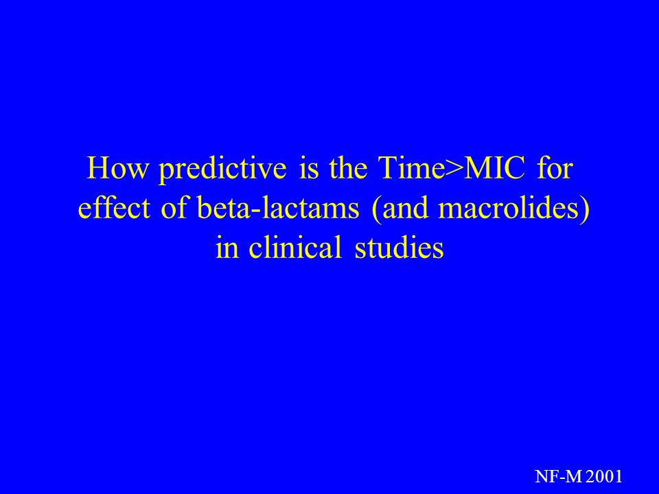 How predictive is the Time>MIC for effect of beta-lactams (and macrolides) in clinical studies