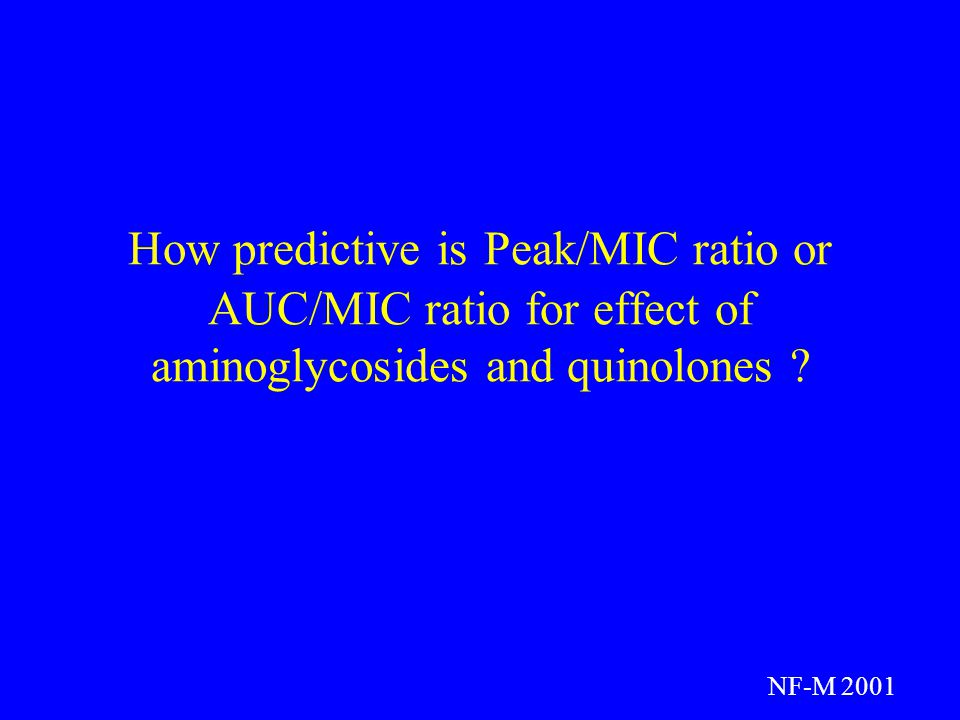 How predictive is Peak/MIC ratio or AUC/MIC ratio for effect of aminoglycosides and quinolones