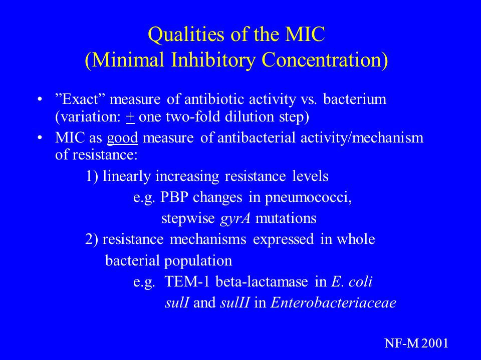 Qualities of the MIC (Minimal Inhibitory Concentration)