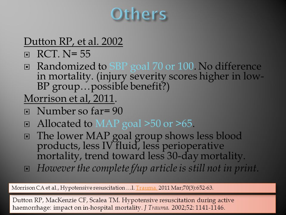 Others Dutton RP, et al. 2002 RCT. N= 55