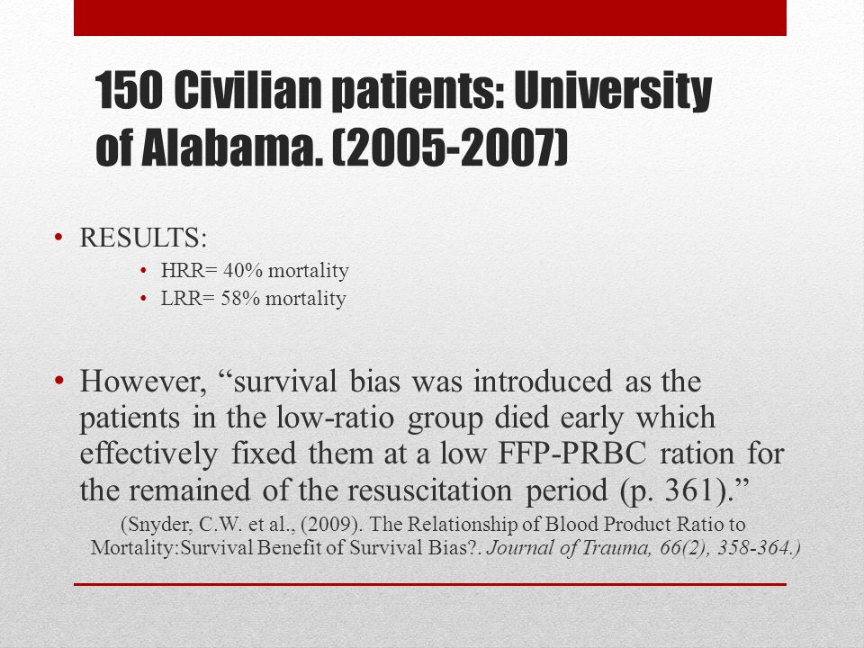150 Civilian patients: University of Alabama. (2005-2007)