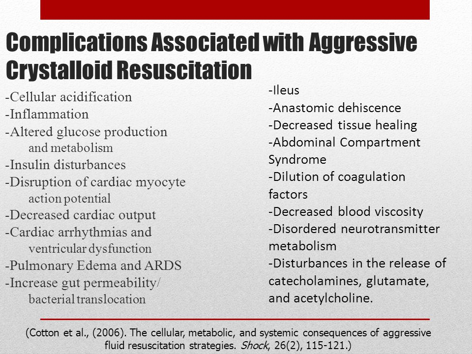 Complications Associated with Aggressive Crystalloid Resuscitation