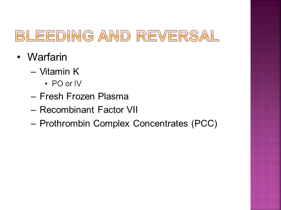 Bleeding and Reversal Warfarin Vitamin K Fresh Frozen Plasma