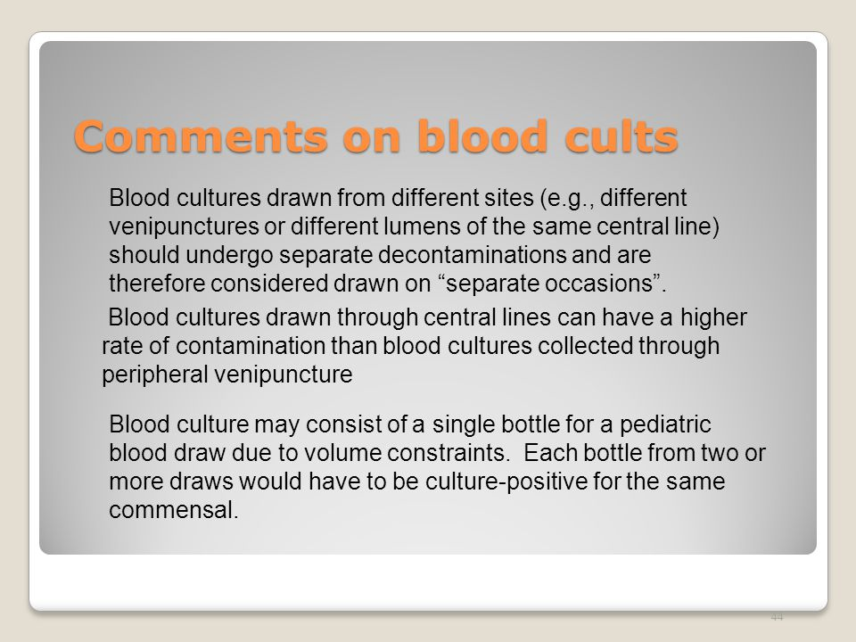 Comments on blood cults