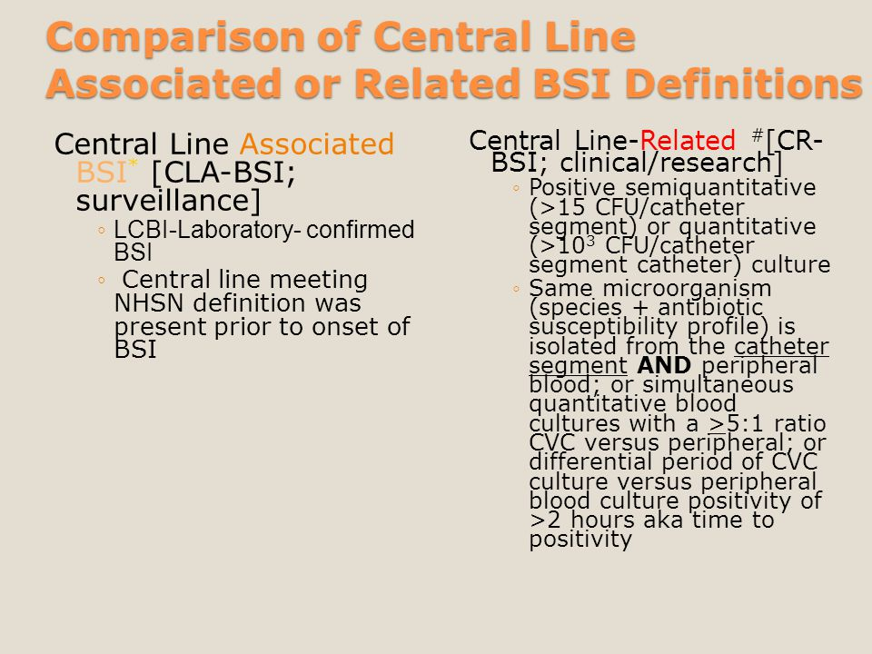 Comparison of Central Line Associated or Related BSI Definitions