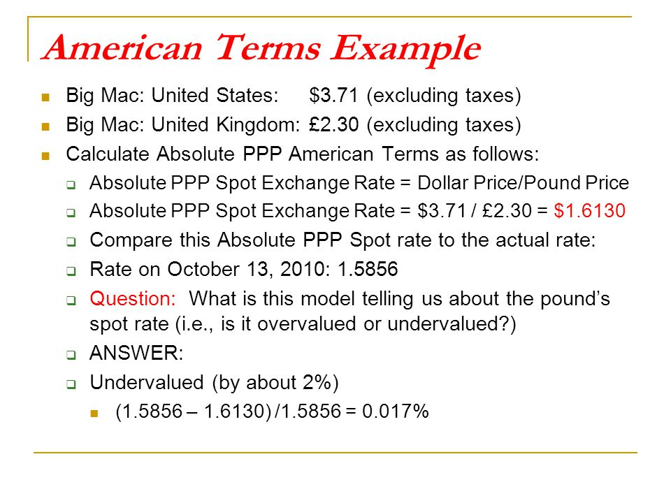 American Terms Example