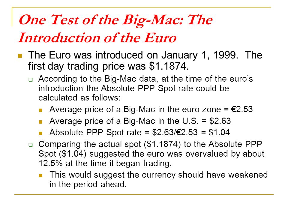 One Test of the Big-Mac: The Introduction of the Euro